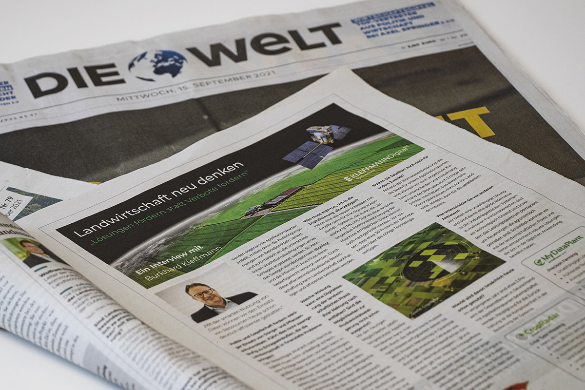Interview in the German daily newspaper DIE WELT